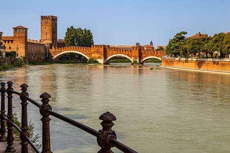 Italy: view of the Adige river from the Castelvecchio bridge