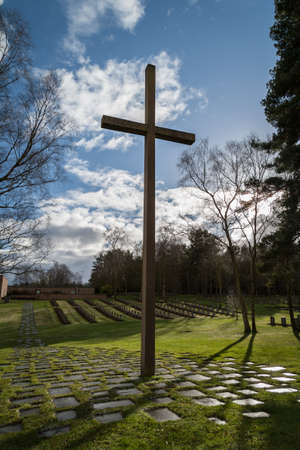 chase: This cross of remembrance stands at the German war cemetery at Cannock chase in Staffordshire where German military personnel and German civilian internees of both World Wars are interred. Stock Photo