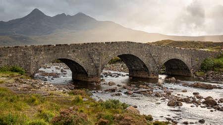Crossing the river Sligachan at Sligachan is the old three arched bridge
