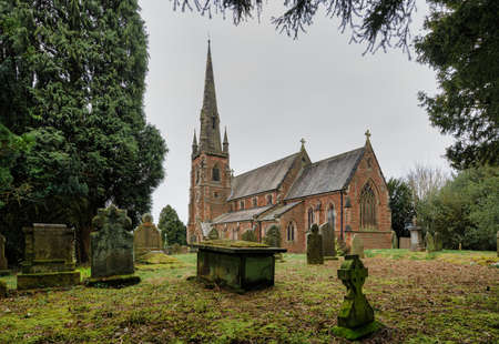 English rural church Staffordshire. St John the Baptist Keele is a Grade 11 listed building. It opened on 1st May 1870.
