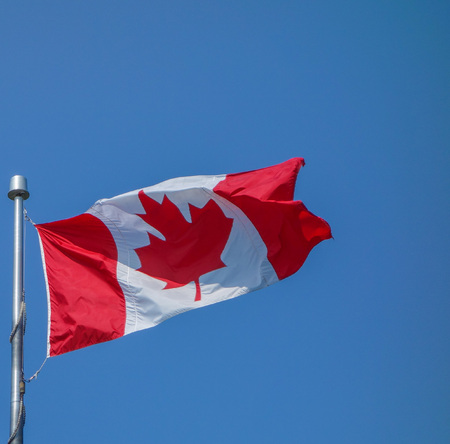 ca: The national Canadian flag of Canada CA