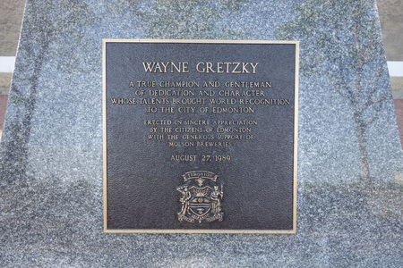 erected: EDMONTON, CANADA - AUGUST 10, 2014: The Wayne Gretzky memorial erected by the city of Edmonton to celebrate its sport champion Editorial