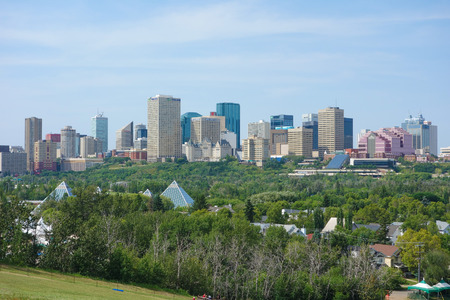 EDMONTON, CANADA - AUGUST 12, 2014: View of the modern city centre of Egmonton in Canada Editorial