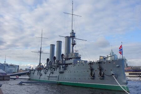 SAINT PETERSBURG, RUSSIA - AUGUST 29, 2014: The Aurora is a 1900 Russian protected cruiser currently preserved as a museum ship