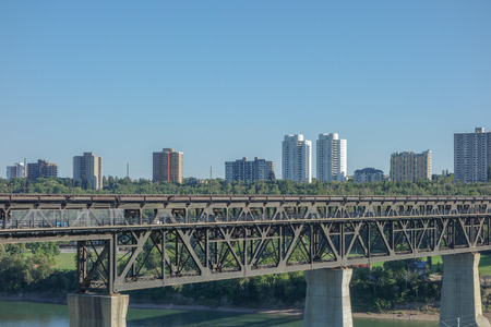 View of the city of Edmonton in Canada from the North Saskatchewan River