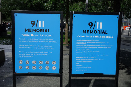 honoring: NEW YORK, USA - SEPTEMBER 23, 2014: National September 11 Memorial is an educational and historical institution honoring the victims of the Twin Towers attack