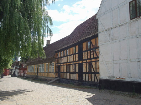 Ancient wooden house in the Old Town in Aarhus, Denmark