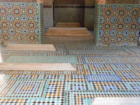 discovered: MARRAKECH, MOROCCO - JANUARY 23, 2014: The Saadian Tombs dating back from the time of sultan Ahmad al Mansur were discovered and restored in 1917