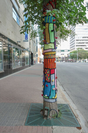 EDMONTON, CANADA - AUGUST 7, 2014: Street art project called CommuKNITy Spiritual Arts Collective