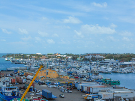 NASSAU, BAHAMAS - MAY 28, 2014: Harbour of the city of Nassau the largest city and commercial centre of the Commonwealth of the Bahamas
