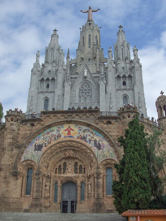 cor: The Sagrat Cor church in Barcelona Spain Stock Photo