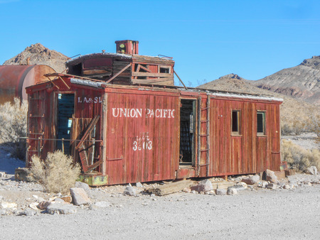 Caboose ruins in the ghost town of Rhyolite in Death Valley Nevada USA