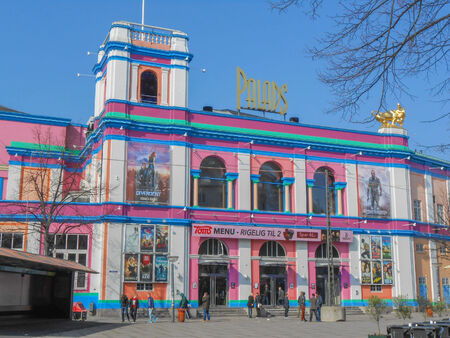 operated: COPENHAGEN, DENMARK - MARCH 30, 2014: The Palads Teatret cinema operated by Nordisk Film is the largest movie theatre in Denmark with 17 auditoriums