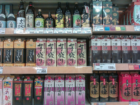 TOKYO, JAPAN - AUGUST 22, 2012: Typically Japanese products on display in a supermarket store shelf