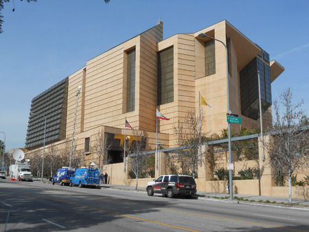 postmodern: The Cathedral of Our Lady of the Angels was designed by Rafael Moneo in Postmodern deconstructivist style