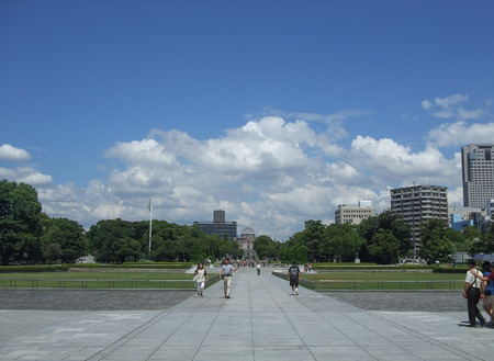 bombing: HIROSHIMA, JAPAN - AUGUST 21, 2012: People visiting the Peace Memorial Park for the victims of atomic bombing