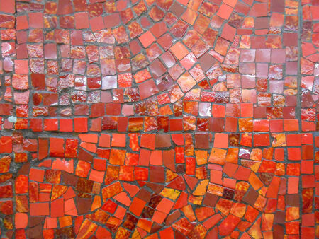 Red tiles mosaic useful as a texture or background Imagens