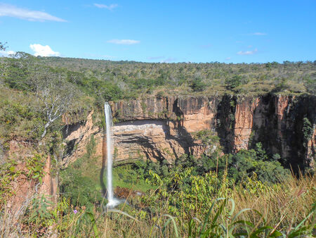Waterfall in Chapada dos Guimaraes national park in the Brazilian state of Mato Grosso