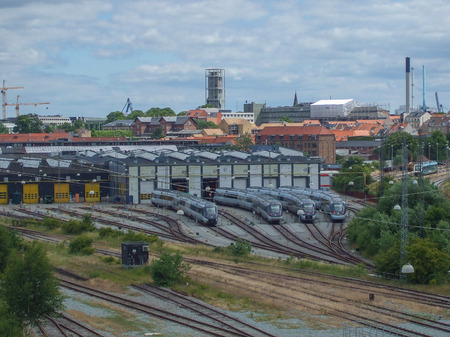 Railway station in Aarhus in Denmark Editorial