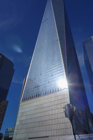 replaces: NEW YORK, USA - SEPTEMBER 23, 2014: The One World Trade Center in Manhattan replaces the Twin Towers after the September 9 events Editorial