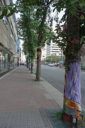 collective: EDMONTON, CANADA - AUGUST 7, 2014: Street art project called CommuKNITy Spiritual Arts Collective Editorial