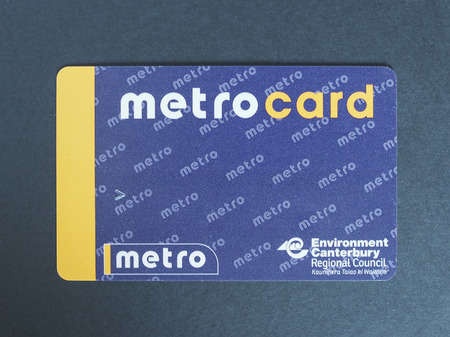 tramcar: CHRISTCHURCH, NEW ZEALAND - JUNE 27, 2015: Travel card for public transport in the Canterbury region