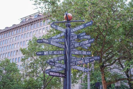 distances: Street sign showing distances to major world cities from Portland, USA Stock Photo