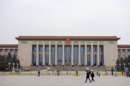 great hall: BEIJING, CHINA - JUNE 6, 2015: Tourists visiting the Great Hall of the People