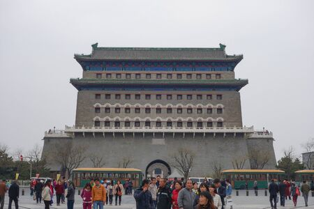 peking: BEIJING, CHINA - APRIL 01, 2015: Tourists visiting the temples in the city of Beijing aka Peking