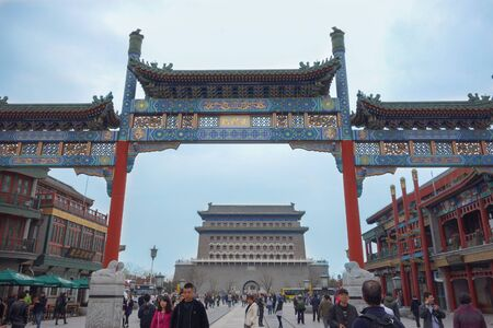 visiting: BEIJING, CHINA - APRIL 01, 2015: Tourists visiting the temples in the city of Beijing aka Peking