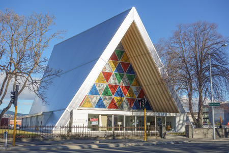 transitional: CHRISTCHURCH, NEW ZEALAND - JUNE 11, 2015: The new Transitional cathedral built as a temporary replacement for the St Mary cathedral destroyed in 2011 earthquake Editorial