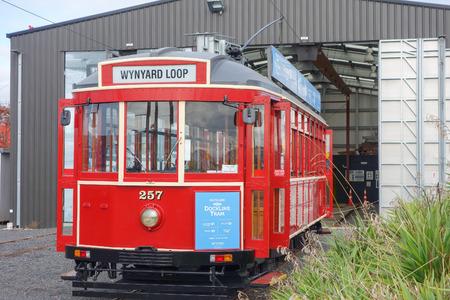 tramcar: AUCKLAND, NEW ZEALAND - JUNE 09, 2015: Dockline Tram vintage public transport Editorial