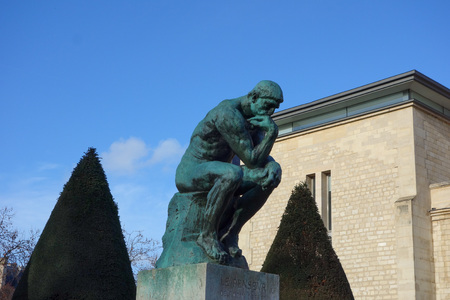 the thinker: PARIS, FRANCE - CIRCA JANUARY 2016: Le Penseur (meaning The Thinker) sculpture from year 1902 by Auguste Rodin representing philosophy in Paris