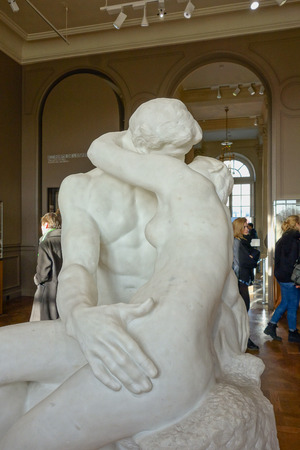 french kiss: PARIS, FRANCE - CIRCA JANUARY 2016: Le Baiser (meaning The Kiss) is an 1889 marble sculpture by the French sculptor Auguste Rodin at Rodin Museum Editorial