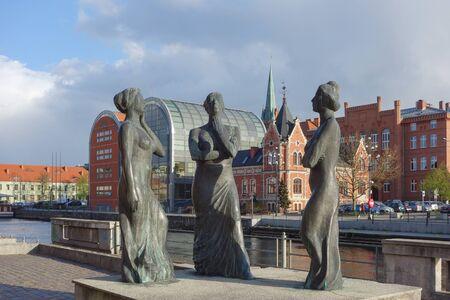 sculptor: BYDGOSZCZ, POLAND - CIRCA APRIL 2016: Trzy Gracje (meaning The Three Graces) work of art by sculptor Jerzy Buczkowski