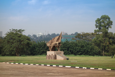 kampala: KAMPALA, UGANDA - CIRCA SEPTEMBER 2016: Memorial monument to the Unknown Soldier at the Kololo Independence ground Editorial