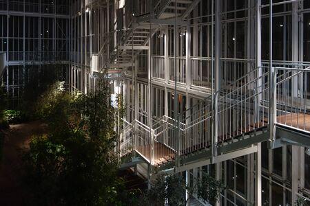 TURIN, ITALY - CIRCA NOVEMBER 2016: The new Intesa San Paolo headquarters designed by Renzo Piano at night