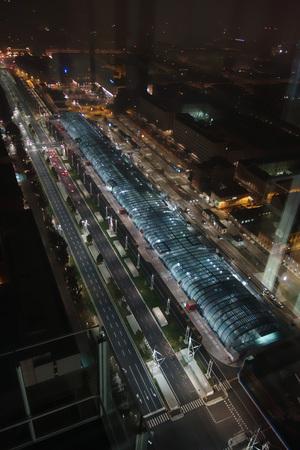 TURIN, ITALY - CIRCA NOVEMBER 2016: Aerial view of Torino Porta Susa railway station at night
