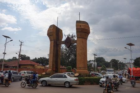 KAMPALA, UGANDA - CIRCA SEPTEMBER 2016: The Buganda monument located in the middle of Bulange and Lubiri