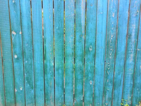Blue aquamarine wooden background- Painted old wood facade with - Vintage house front with weathered fence Reklamní fotografie