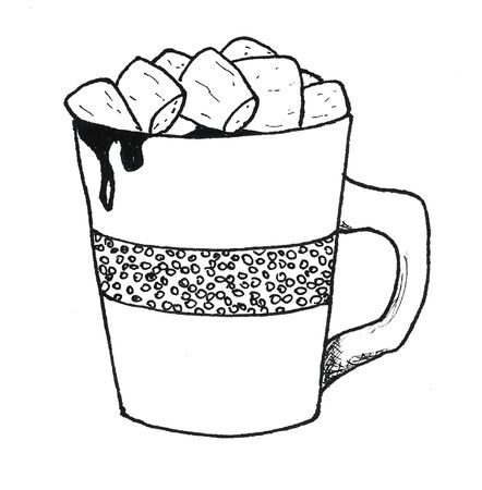 Single hand drawn element cocoa with marshmallow for New Year and Xmas greeting cards, posters, stickers and seasonal design. Doodle illustration. Cup of hot cocoa coffee with marshmallow graphics black and white
