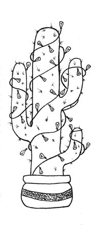 Mexican new year cactus in planters with Christmas lights graphics black and white illustration. cactus icon in black style isolated on white background. Mexico country symbol stock illustration.