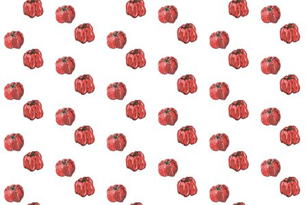 Red pepper seamless pattern. Hand drawing of red bulgarian sweet pepper, paprika, peppercorns. Watercolor illustration isolated on white background.