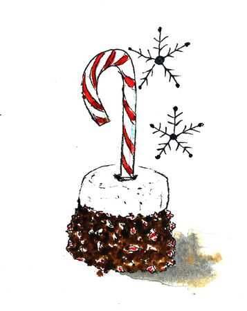 Christmas candy cane marshmallows and chocolate and snowflakes lollipop red white isolated abstract watercolor illustration.
