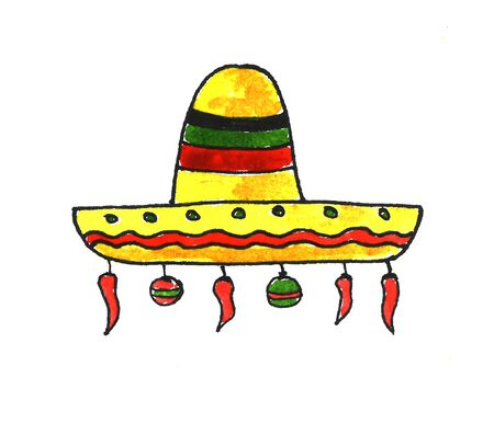 Mexican new year sombrero with chili peppers and Christmas balls watercolor illustration. Traditional Mexican wide brimmed hat, sketch style illustration isolated on white background. Hand drawn