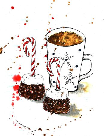 Christmas candy cane marshmallows and chocolate and white coffee mug cocoa tea with snowflakes lollipop red abstract