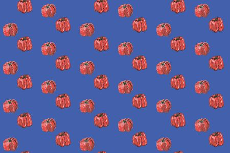 Red pepper seamless pattern. Hand drawing of red bulgarian sweet pepper, paprika, peppercorns.