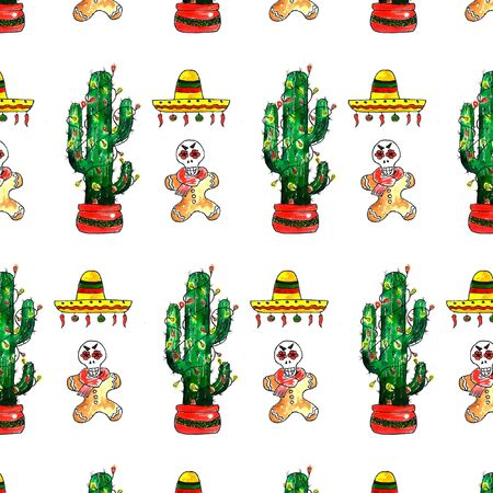 Watercolor Merry Christmas objects pattern. Mexican new year. Dia de los Muertos. Hand drawn seamless texture with Green cactus with lights, sombrero, chili, gingerbread man, mask of the dead. Pattern background