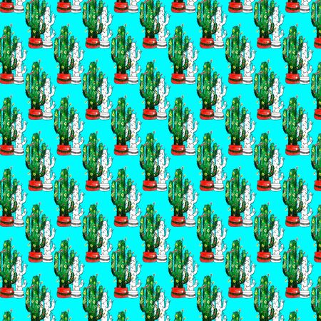 Watercolor Merry Christmas objects pattern. Mexican new year. Dia de los Muertos. Hand drawn seamless texture with Green cactus with lights. Pattern background