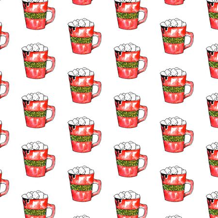 Hot chocolate red cup with marshmallow. Christmas card design element. Isolated watercolor illustration pattern Фото со стока